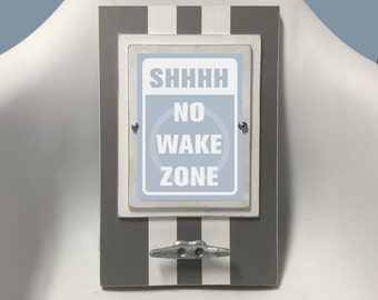 Framed Nautical Nursery Print Shhhh No Wake Zone in Gray and Pale Blue with Boat Cleat