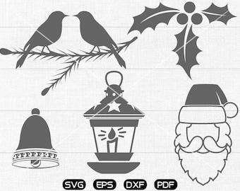 Santa Claus Clipart , Bird,  Christmas Bell, Christmas Light Svg, cricut, cameo, silhouette cut files commercial & personal use