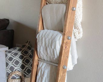 Blanket Ladder | Rustic Ladder Decor | Industrial Pipe and Wood Blanket Ladder | Wooden Ladder | Pipe Ladder | Industrial Furniture
