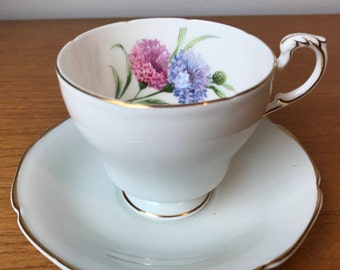 Paragon Cornflower Tea Cup and Saucer, Vintage Teacup and Saucer, Floral Bone China