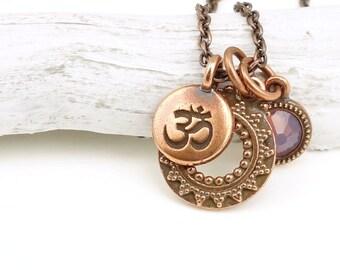 Om Jewelry for Her Copper Jewelry Yoga Gifts Under 30 Yoga Jewelry Charm Necklace Customized Personalized Birthstone Mindfulness Jewelry