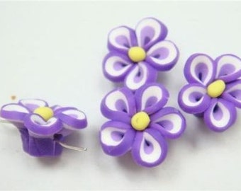 5 Piece Handmade Purple Clay Flower Bead Cabochons - Kawaii Decoden Flatback (TDK-C1551)