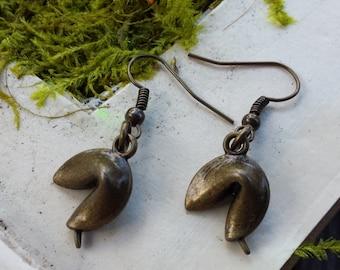 Bronze fortune cookie earrings