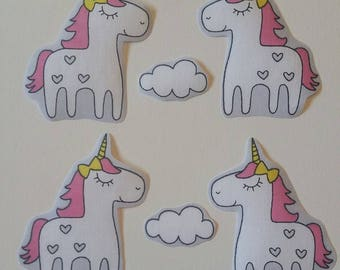4 Iron on fabric unicorn motifs ideal for craft making/embelishments/patches