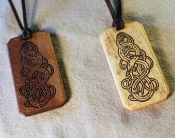 Hardwood Viking Serpent Pendant Necklace - Jörmungandr Midgard World Serpent - Maple or Walnut Old Norse Amulet