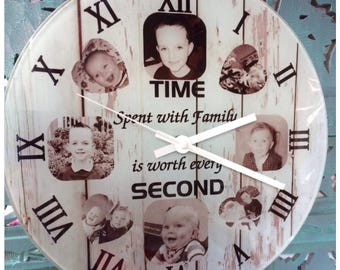 Glass photo wall clock personalised
