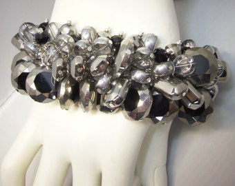 LARGE Bling Black & Silver Chunky Cha Cha Bracelet