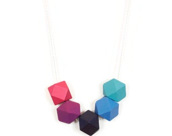 Modern Geometric Faceted Bead Necklace on Silver Chain