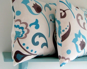 Pair of 16 x 16 Cushion Covers in Cascade Cotton Fabric by Fairfield Mills UK