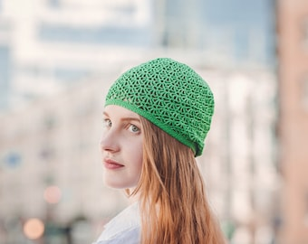 Summer Slouchy Hat - Green Cotton Hat - Crochet Beanie For Young Women - Lacy Bohemian Beanie ItWasYarn - Eco Hat - Casual Fashion Lacy Hat