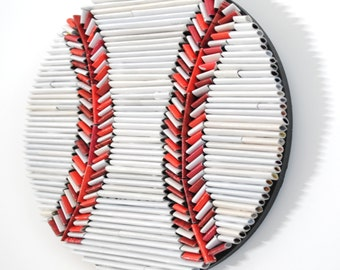 BASEBALL round wall art- made from recycled magazines, colorful, unique 6 inch circle, modern, boys room, decoration, nursery, sports, ball