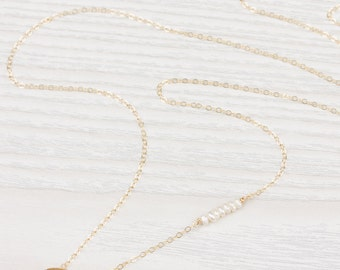 Gold Long Necklace •  Long Pearl Necklace • Long Dainty Necklace • Long Circle Necklace • Freshwater Pearl Necklace | 0249NM