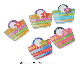 6 buttons 27 x 3 mm wooden handbag