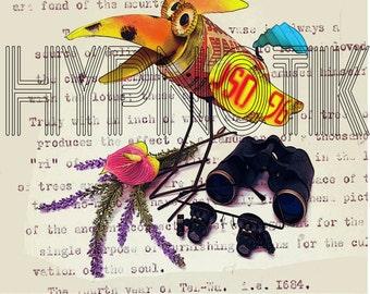 Steampunk Digital Print- Bird.