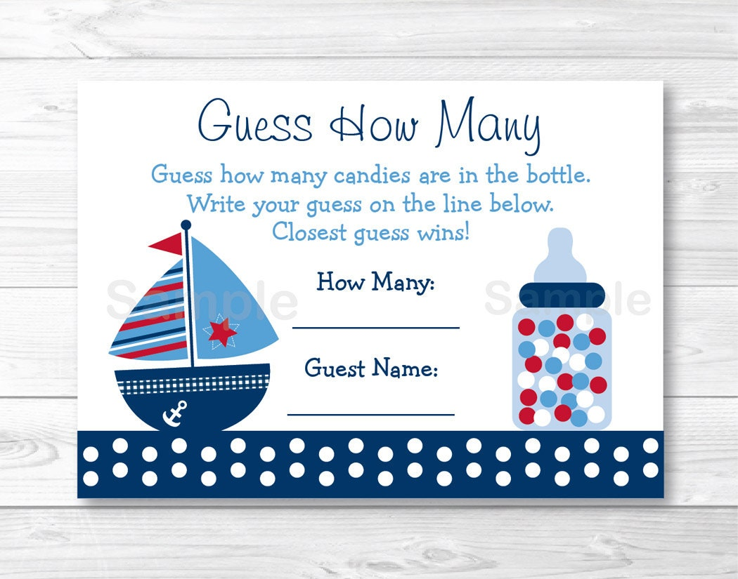Cute Sailboat Guess How Many Baby Shower Game / Sailboat Baby