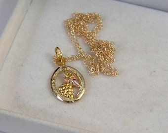 Oval SOLID 10K Gold Pendant & Necklace Grape Leaf Cluster Petite Authentic Vintage Pendant Artisan Restored Altered