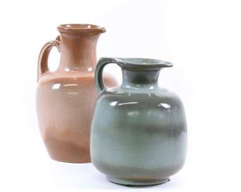 "Vintage ""Frankoma"" Pink & Blue Studio Pottery Pitchers - FREE SHIPPING"