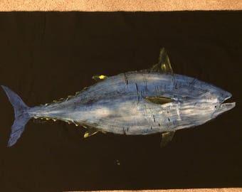 Original Bonita Gyotaku Fish Rubbing by Artist Alex Dragoni