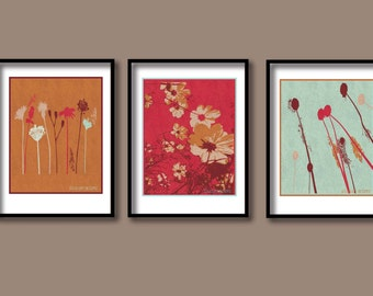"""Simple flower print, mothers day gift, set of 3 prints, wall decor, wall art, red, gold, 7.5""""x10"""" modern flower print, floral art"""