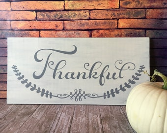 Thankful sign, Fall sign, Fall  decor, Thankful, Thanksgiving decor, Hostess gift, Housewarming gift, Rustic sign, Thanksgiving wood sign