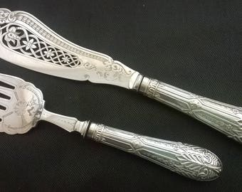Superb Pair of Antique Silver plated Ornate Pierced & Chased Fish Servers