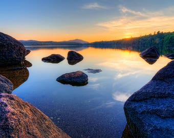 Sunset Photography, Sunset Print, Colorful Sunset, Adirondack Lake, Adirondack Print, Adirondack Sunset, Fine Art Photography, Nature