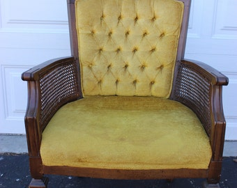 Mid Century Modern Vintage Retro Yellow Gold Tufted Cane Chair