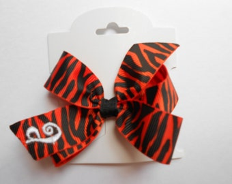 Infant Initial, Hair Bows, Monogram Letter, Monogrammed, Orange Print, Toddler Clips, Mini Small, Embroidered Gift, Hairbow Clips, Ribbon