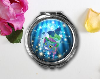 Cheshire Cat Compact Mirror, Pill Box, Pendant, Key Fob, Gift for Women, Fantasy Cat, Steampunk Cheshire