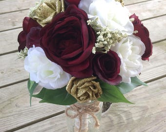 Custom Wedding Bouquet - Artificial Bridal Floral Arrangement - Faux Flowers - Forever Flower Arrangements