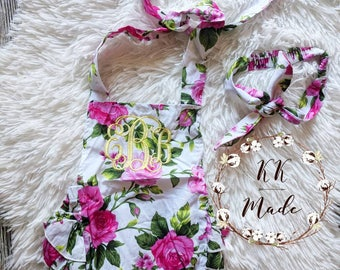 Monogrammed baby girl romper, baby romper, customized baby shower gift, monogrammed baby gift, monogrammed baby summer clothes, embroidered