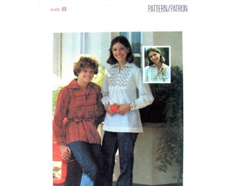 1970s Blouse Pattern Butterick 4964 Hippie Top Embroidery Transfer Womens Smock Blouse Sewing Pattern Size 8 Vintage Pattern UNCUT