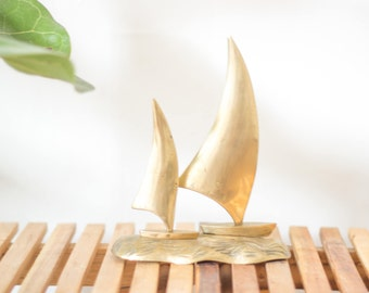 vintage brass doube sailboat statue