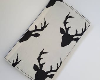 Health Book personalized / vaccination book deer stag cream and black