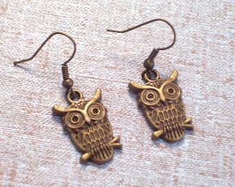 Antiqued Brass Owl Earrings, Bird Jewelry, Bronze Bird Pierced Dangle Earrings