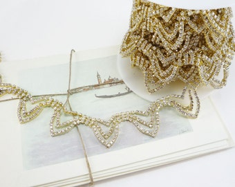 Gold Rhinestone Garland Trim, Rhinestone Chain, Rhinestone Trim, Wedding Rhinestone Applique, Clear Crystal Trim, 20mm ( 1 Feet Qty)