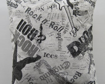 Rock & Roll Black and White Cushion Cover