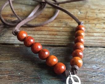 Happy Hippie | Vegan Leather, Redwood + Thai Silver Peace Sign | Adjustable Choker Necklace | Reiki Infused | Spiritual Junkies | Yoga