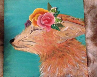 Small Painting- Mixed Media- Fox