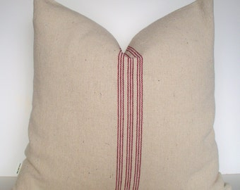 Farmhouse Pillow, Grainsack Red Pillow Cover Red Stripe Grain Sack Pillow Red Farmhouse Pillow 0