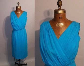 Vintage 1960's Ocean Chiffon 60's Cocktail Glamour Low Bust Fitted Wasp Waist Womens Dress - M