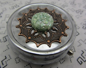 Pill Case Box Container Glittery Green