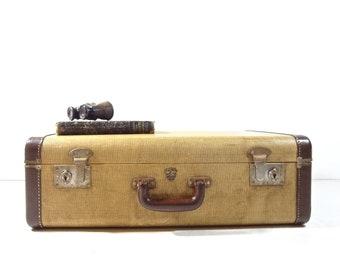 Vintage Tweed Suitcase / 1940s Yellow Tweed Suitcase / Vintage Luggage