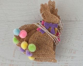 SALE Natural Burlap Cottontail Bunny Bunting Garland with Spring Colors