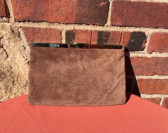 Vintage Brown Suede Leather Clutch Purse Chain Handle by Etra