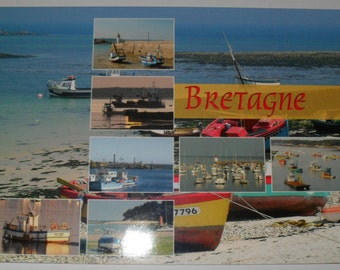 Postcards of Britain on the boat sea color