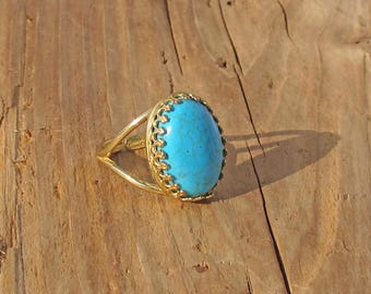 Turquoise Gemstone Rock Ring Brass Gold Anti Tarnish Gift Boxed Mothers Day