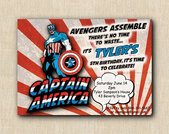 CAPTAIN AMERICA Superhero Birthday Party Invitation - Printed Invitations