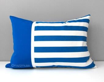 SALE - Cobalt Blue Striped OUTDOOR Pillow Cover, Decorative Blue White Pillow Cover, Modern Stripes, Pacific Blue Sunbrella Cushion Cover