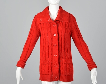 Large 1970s Red Cable Knit Cardigan Long Sleeve Button Front Cardigan Large Collar Tunic Length Pockets 70s Vintage